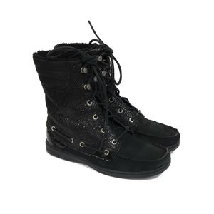 SPERRY Top Sider Black Glitter Suede Boots Size 8